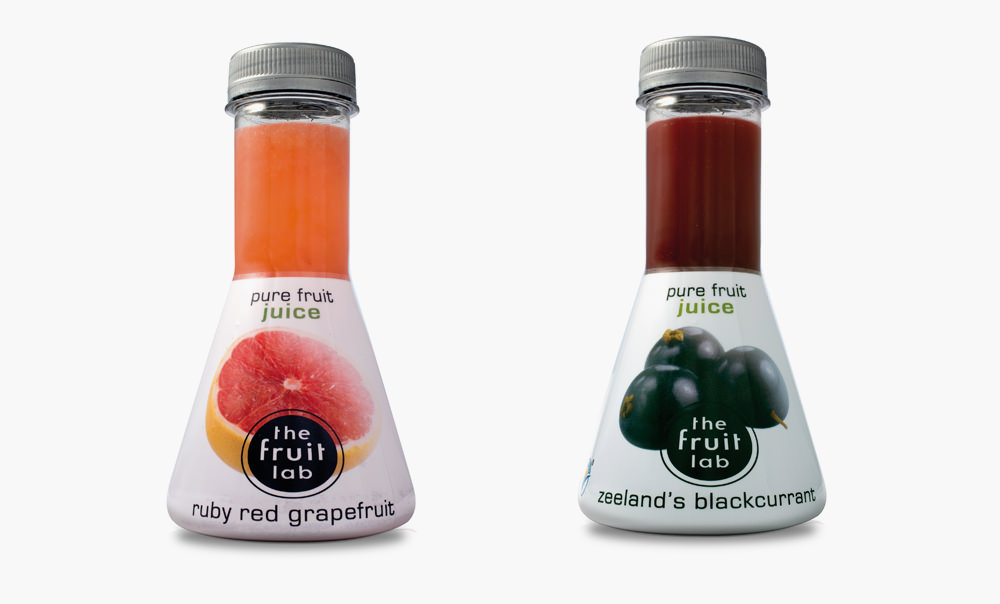 Fruit lab different juice bottles