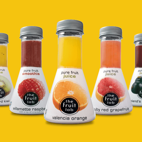 Fruit lab juice bottles