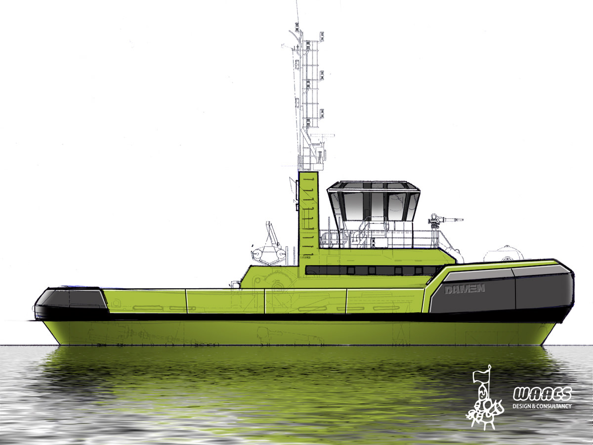 Profile view tugboat